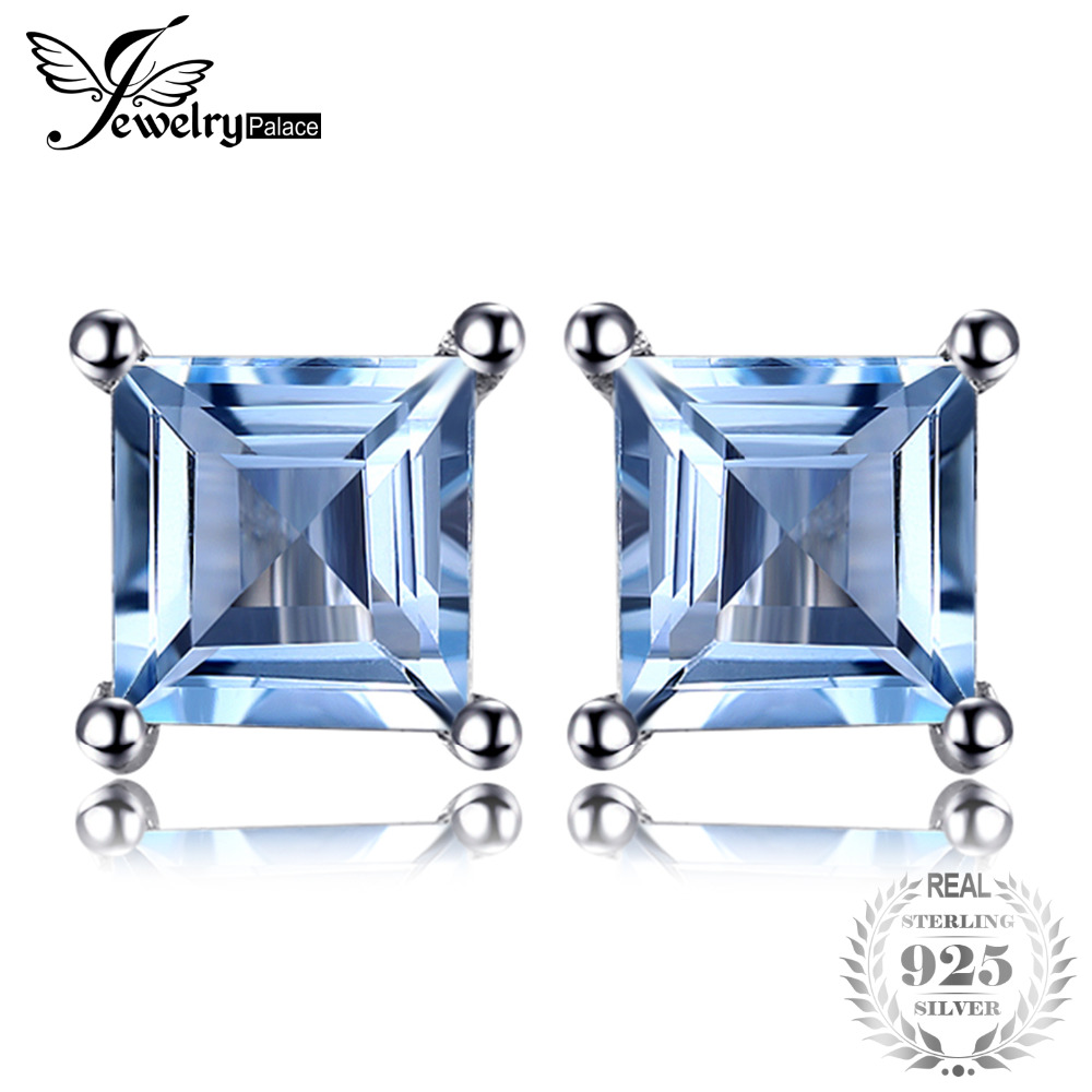JewelryPalace Natural Sky Blue Topaz 925 Solid Sterling Silver Fashion Women Dazzling Princess Cut Stud Earrings For Women
