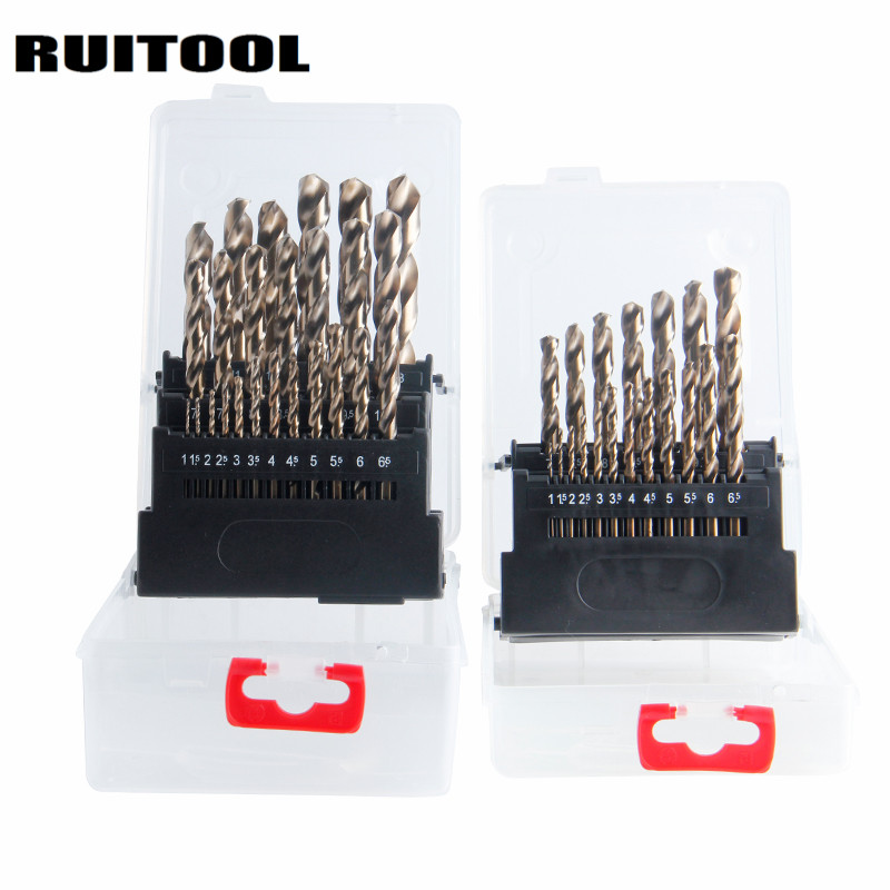 RUITOOL Cobalt Drill Bit Set Original M35 Twist Drill Bit Metal Cutter 1-10mm/1-13mm For Stainless Steel Wood Power Tools professional 3pcs set woodworking chamfer countersink drill bit 6mm 8mm 10mm diameter gold color drill bit for marble tapper
