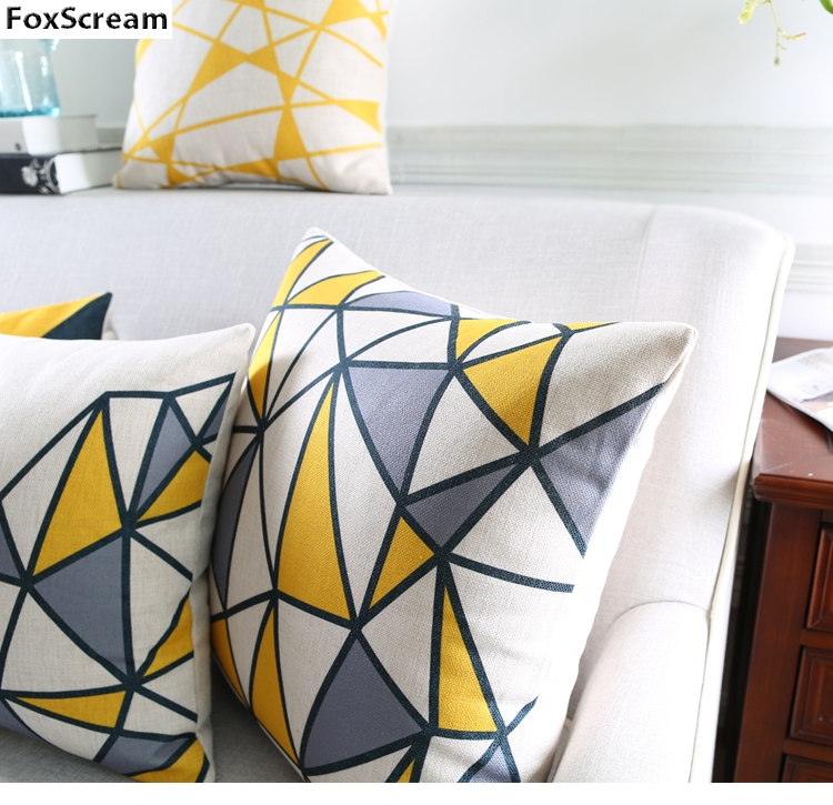 Nordic Cushion Yellow Decorative Pillows Grey Geometric Cushions