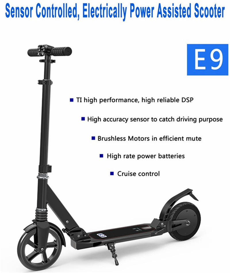 Two wheels electric scooter 8 inch folding electric scooter 24 V foldable adults skataboard cool 350w 8 inch electric scooter adjustable height led headlight folding travel tools adults kids toys for gift dropshipping