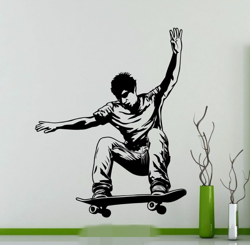 teens 3d wall murals promotion shop for promotional teens 3d wall free shipping skateboarding skater wall sticker extreme sports vinyl decal home room interior decor teen club dorm studio mural