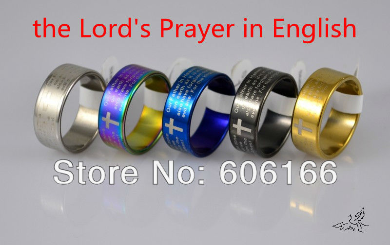 Mixed Color ENGLISH Bible Lords Prayer Cross Ring Plated Stainless Steel Rings Fashion Religious Jewelry