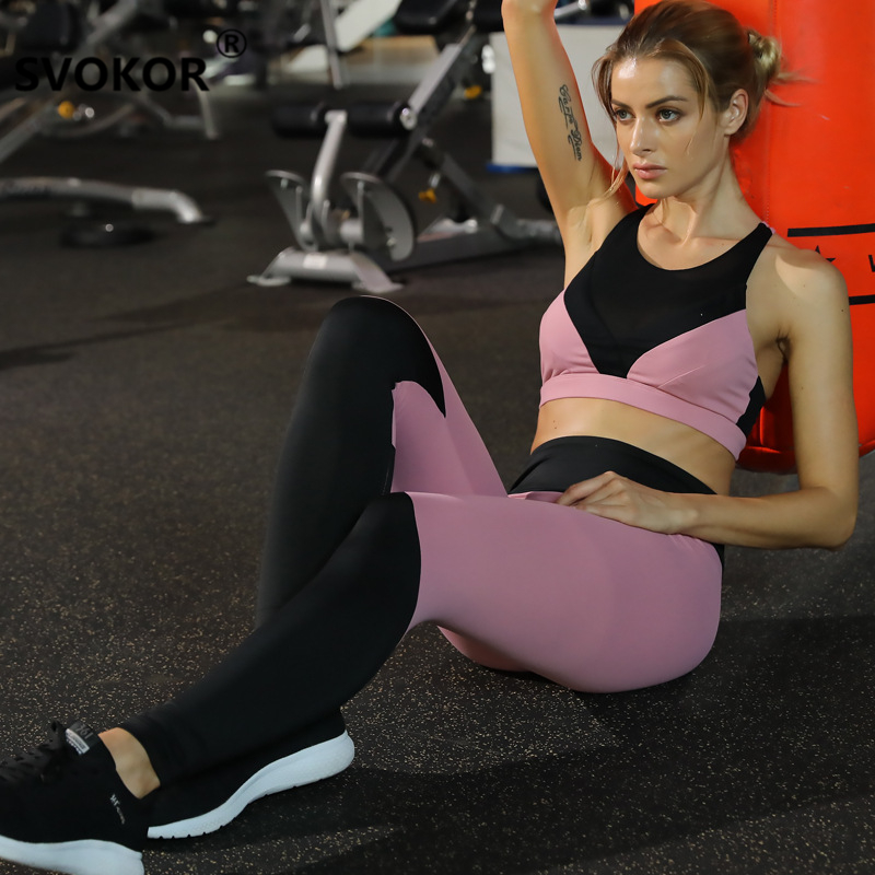 SVOKOR 2018 Women s Tracksuit Sportwear Compression Pants Set Sleeveless Top Leggings Trousers Fitness Clothing Workout