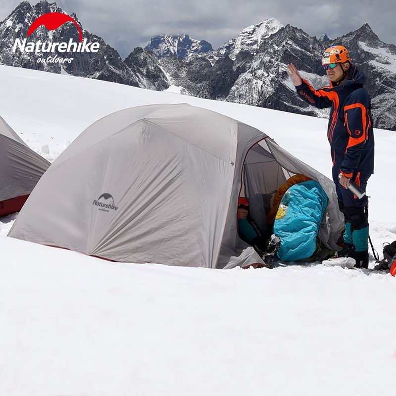 Silicone Coating Double Layer Waterproof PU4000 Single Tents Aluminum Rod Mountain Ultralight Tent 1.2KG UVP40 Gray Orange Green high quality outdoor 2 person camping tent double layer aluminum rod ultralight tent with snow skirt oneroad windsnow 2 plus