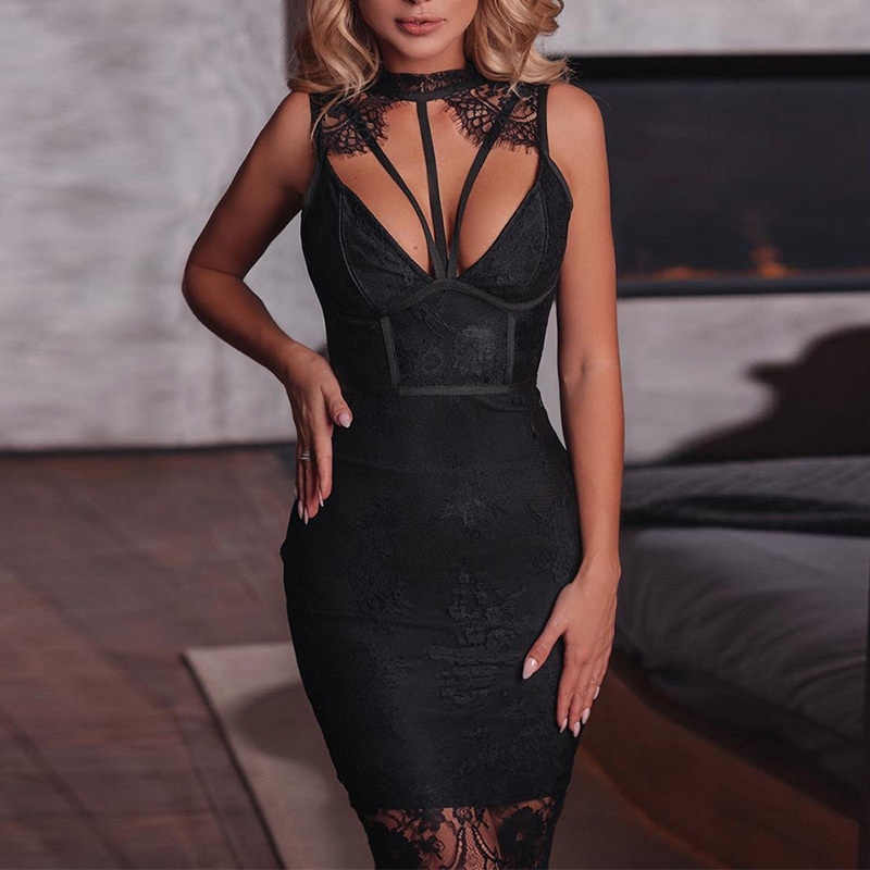 Bandage Ontwerp Hals Wimpern Top Bodycon Party Dress