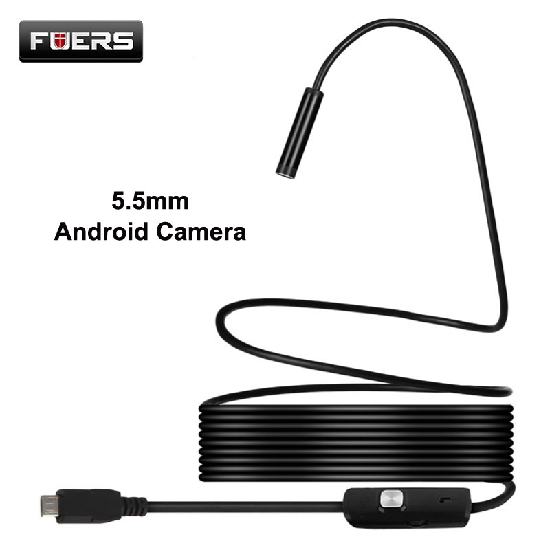 5.5mm Android And PC Endoscope 1M 1.5M 3.5M 5M Soft Cable And Hard Cable 6 LED Smartphone OTG Borescope USB Inspection Camera