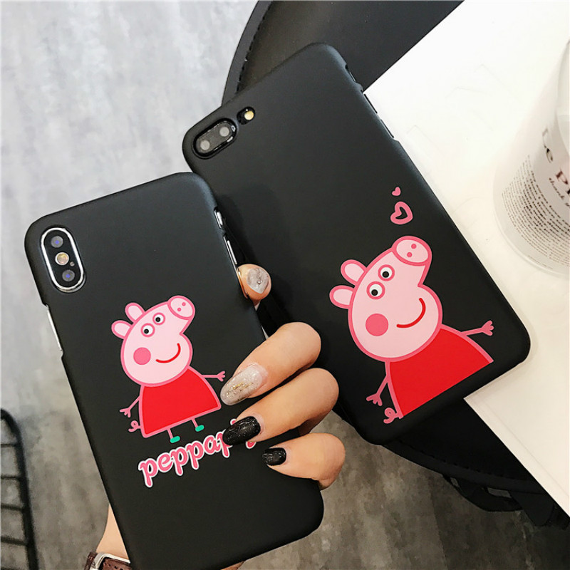 Hard plastic back case for iphone7plus Peppa Pig patterned back cover for iphone6 case for iphoneX 8 8plus 6plus screenprotector