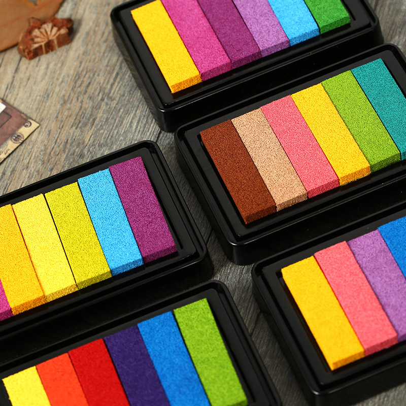Jamie Notes Candy Color Rainbow Stamp Inkpad Kids Diy Handmade Scrapbook Students Stamps Arts,craft Gift Fingerprint
