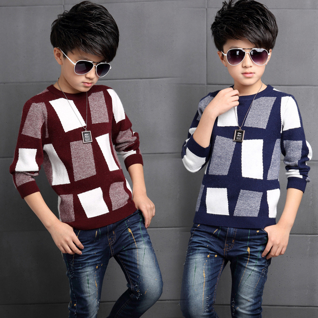 2019 Fall Winter Boys Casual Knitted Sweaters Teenage Kids Plaid Color Matching Knitwear Pullovers Children Clothes Garment G994