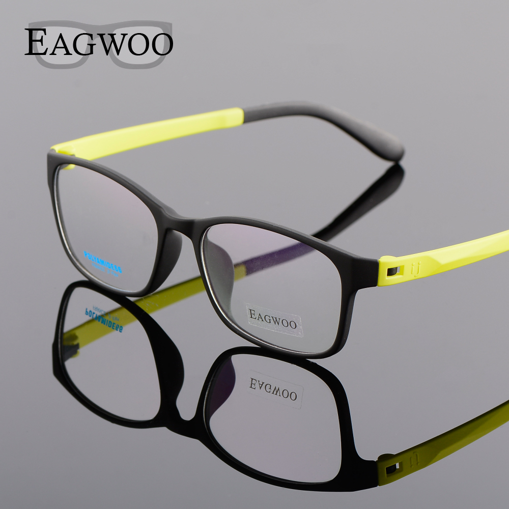 EAGWOO Sport Silicon Spectacle Girl Boy Student Eyeglasses Blue Yellow Optical Frame for Youngers Green Eye New Spetacles 66A