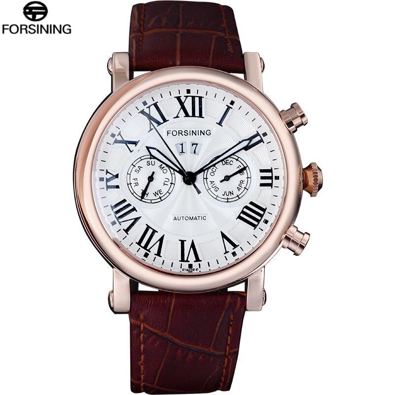 FORSINING Male Watch Luxury Brand Fashion Business Auto Mechanical Date Rose Gold Black Men Watches Relogio Masculino все цены