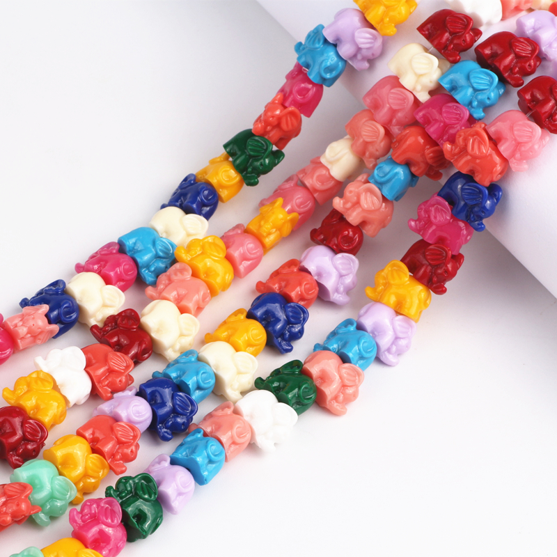 38Pcs/lot Mixed Color Synthetic Coral 11x13mm Elephant Spacer Beads Diy Craft Material For Jewelry Making Wholesale Bead
