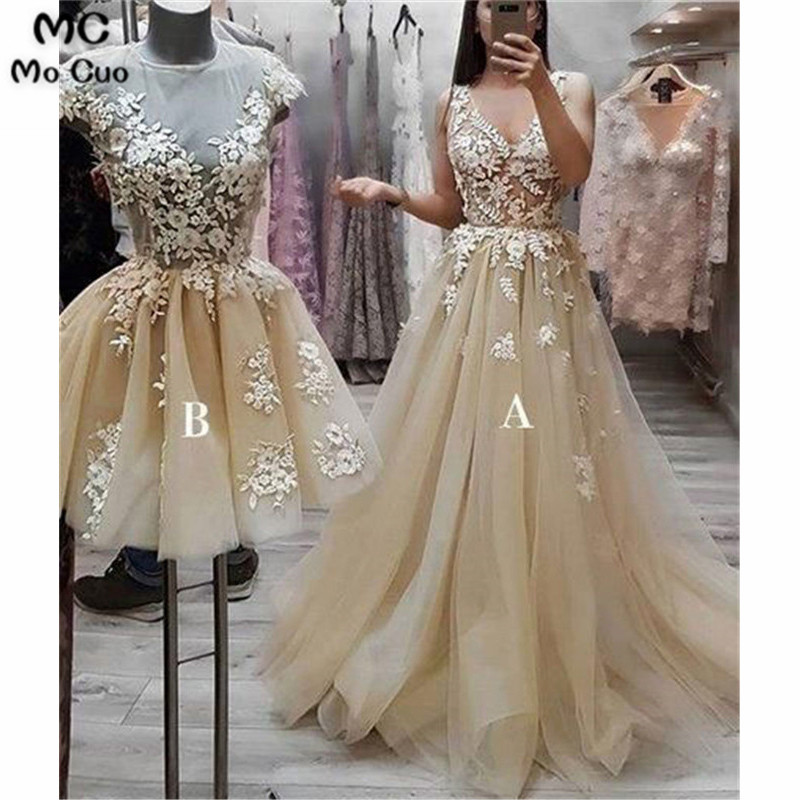 2019 Sheer Neck   Prom     dresses   Long with AB Lace Tulle Women's   dress   for graduation Puffy Evening Party   Prom   Gowns