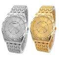 FHD de quartzo Relógio de Luxo Mulheres Relógios de Diamante Design de Banda de Metal Relógio De Pulso De Luxo homem relógio de ouro com diamantes atacado