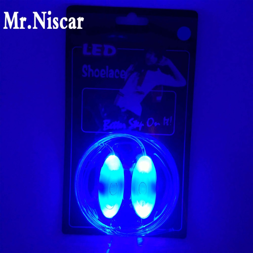 Mr.Niscar1 Pair Led Light Luminous Shoelaces Glowing Shoe Laces Glow Stick Flashing Colored Plastic Shoelace Chaussures Led Blue blue light 3 mode led flashing bootlaces shoelaces 4 x cr2016 pair