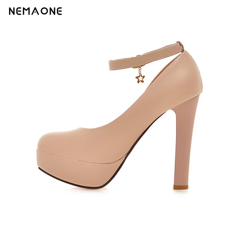 NEMAONE Free shipping New Spring Autumn Casual Shoes Women Thick Heels Platform Pumps Russian Shoes for Girls Big Size 34-43 free shipping 18cm brand new top quality platform women pumps 7 inch thick with high heels women shoes pole dancing shoes us 12