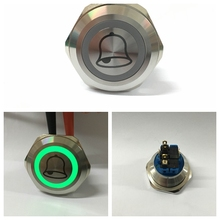 ONPOW 30mm Doorbell button 12V Green LED ring light Stainless steel Push Button Switch (GQ30-11E/G/12V/S/Bell)  CE, ROHS