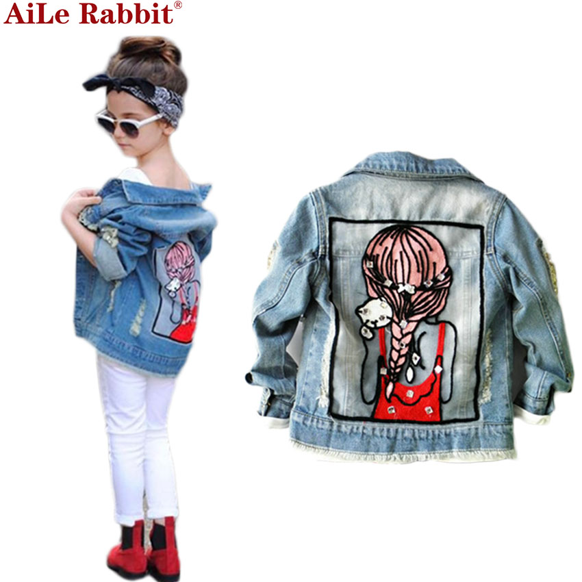1-12Yrs Baby Girls Hole Denim Jackets Coats Fashion Children Outwear Coat Sequins Little Girl Design Girls Kids Denim Jacket pocket design bleach washed denim jacket