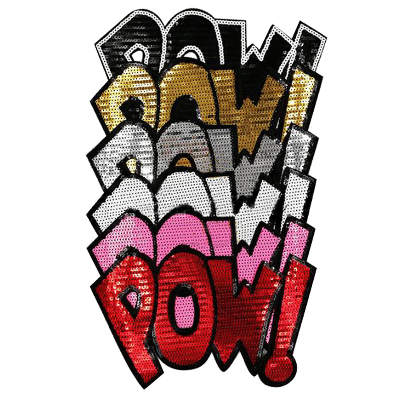 265mm pow letters diy patch deal with it clothes iron on patches for clothing t shirt sequins stickers halloween christmas gifts