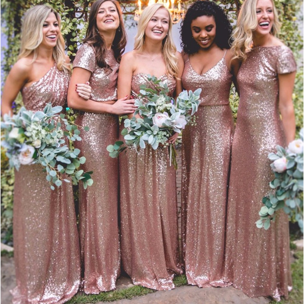 five styles long rose gold sequins