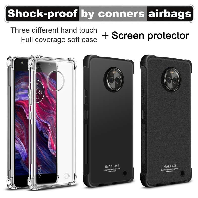Pour Motorola Moto X4 Cas iMAK Airbag Super-mince Doux cas de Téléphone pour Moto X4 Pare-chocs case + Soft écran Protecteur