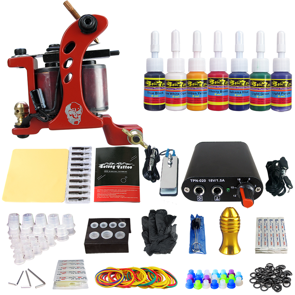 Hybrid Complete Tattoo Coil Machine Kit For Liner Shader Power Supply Foot Pedal Needles Grip Tips Tattoo Body&Art TK105-70 2017 pro complete tattoo machine kit set 2pcs coil tattoo machine gun power supply needles grips tips footswitch for body art