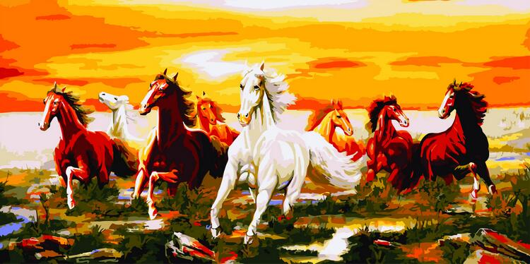 Diy Digital Oil Painting Diy Frameless Oil Painting 60X150CM Eight Horses Gallops Paint on Canvas Kits Unique Gift Home Decor
