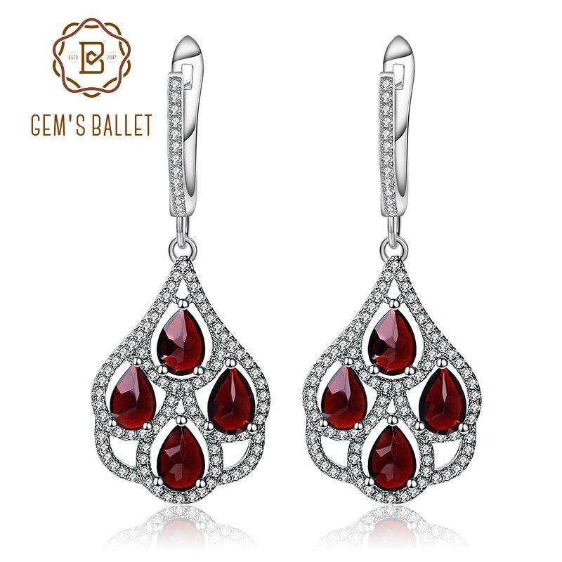 GEM S BALLET Black Garnet Natural Gemstone Drop Earrings Genuine 925 sterling silver Fine Jewelry For