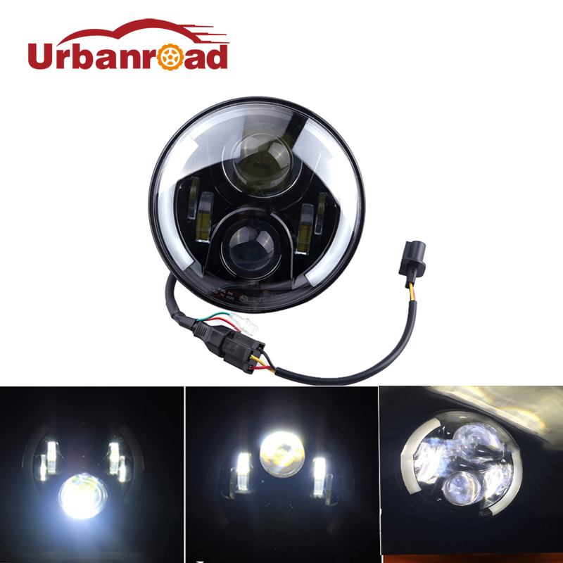 For Daymaker 7 Inch Round LED Halo Headlight Bulb Lamp H4 H13 Angel Eyes Light DRL Head Lamp For Jeep Wrangler JK Hummer Harley