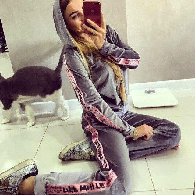 Marque femme Hoodies et pantalon ensemble femmes à manches longues à capuche Sweat survêtement Sweat manteau automne vêtements de sport décontractés 2 pièces ensemble