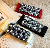 New Korean High Grade Glass Rhinestone Crystal Shining Bright Quality Wide Belt White Black Red Wholesale