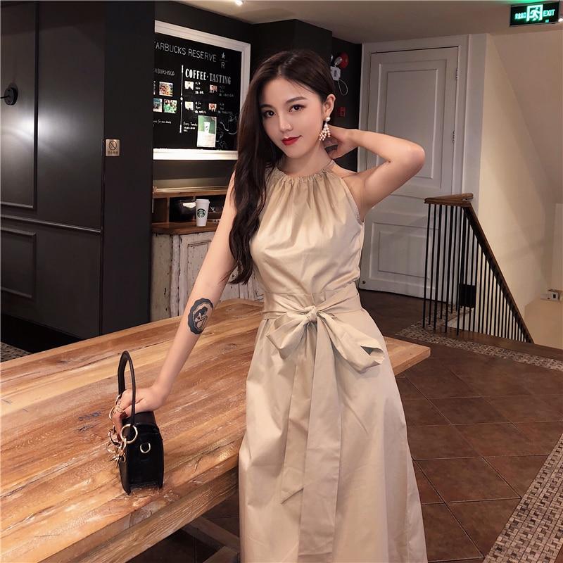 Snordic Sling Long Summer Bow Dresses Women Vintage A-line Hanging Neck Dress High Waist 2018 Backless Dress Female Vestidos