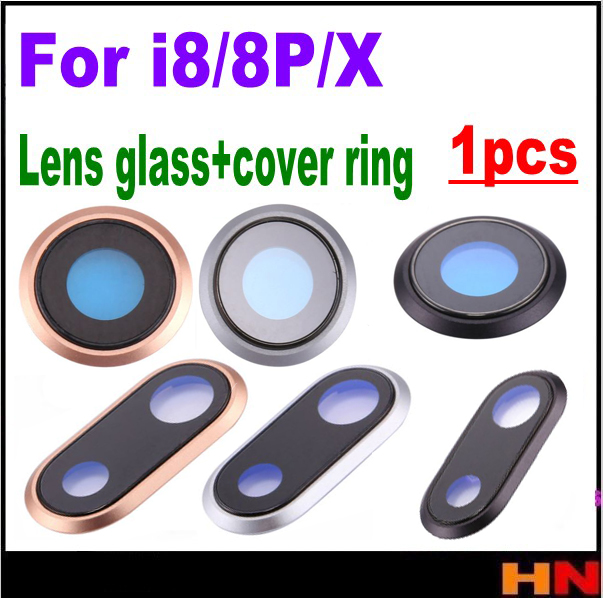 1pcs For iPhone X 8 8P Plus High Quality Back Camera Lens Glass Cover Ring have sticker togehter Replacement Repair Parts
