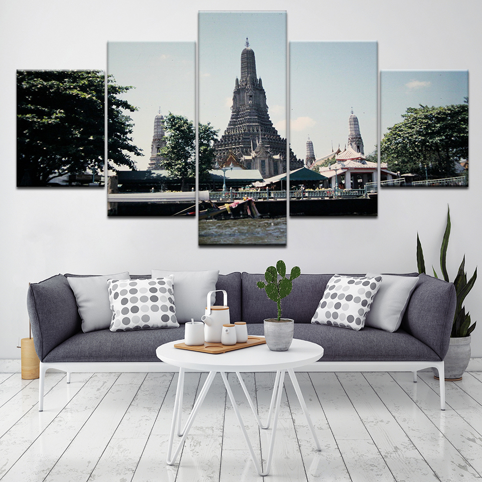 5 Piece Thailand Lotus Flower Scenery Oil Canvas Paintings