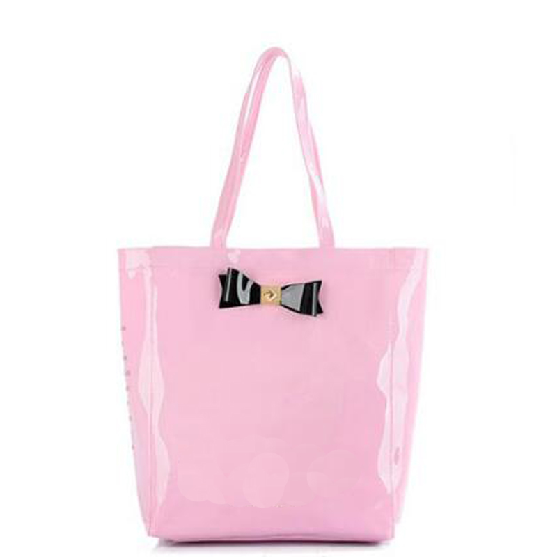 2017 New Fashion Women Bow-tied Jelly Handbags PVC Candy Color Transparent Totes Portable Waterproof Shoulder Bags Femina Bolsas