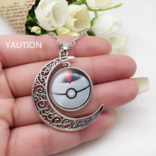 1Pcs Tibetan Silver Anime Pokemon Pokeball Glass Hollow Moon Shape Pendant Necklace..