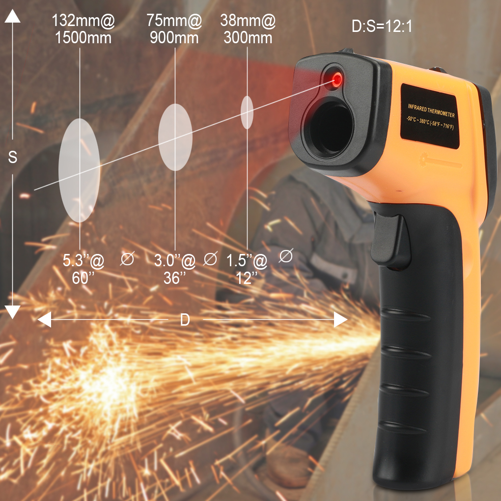 GM320 LCD Digital IR Infrared Temperature Meter Point-50-330 Graden Contact Thermometer 140*85*35mm