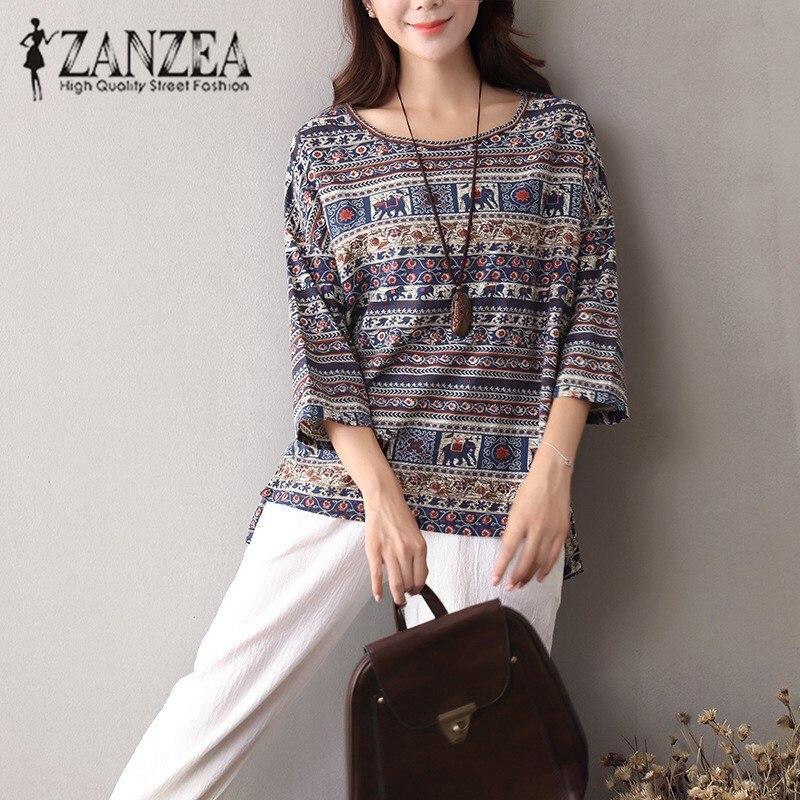 ZANZEA 2019 Women Autumn  Floral O Neck 3/4 Sleeve Blouse Casual Vintage Shirt Cotton Linen Baggy Top Blusas Tunic Plus Size