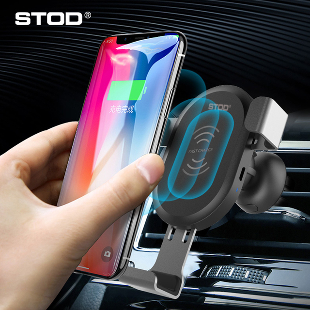 STOD Qi Wireless Car Charger Mount Holder 2 In 1 Phone Stand 10W Fast Charging For iPhone X Samsung S9 Huawei Mi Power Adapter