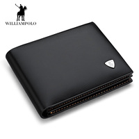NEW Designe Euro Genuine Leather Men Wallets Brand Male Cow Leather Wallet Black Small Purse Short
