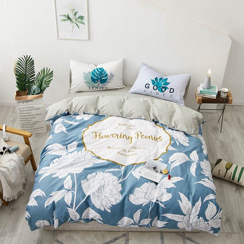 2019 Fresh White Flowers Blue Scandinavian Cotton Bedlinens 4pcs Bedding Set Twin Queen Customize Size Bedsheet Pillowcases2019 Fresh White Flowers Blue Scandinavian Cotton Bedlinens 4pcs Bedding Set Twin Queen Customize Size Bedsheet Pillowcases
