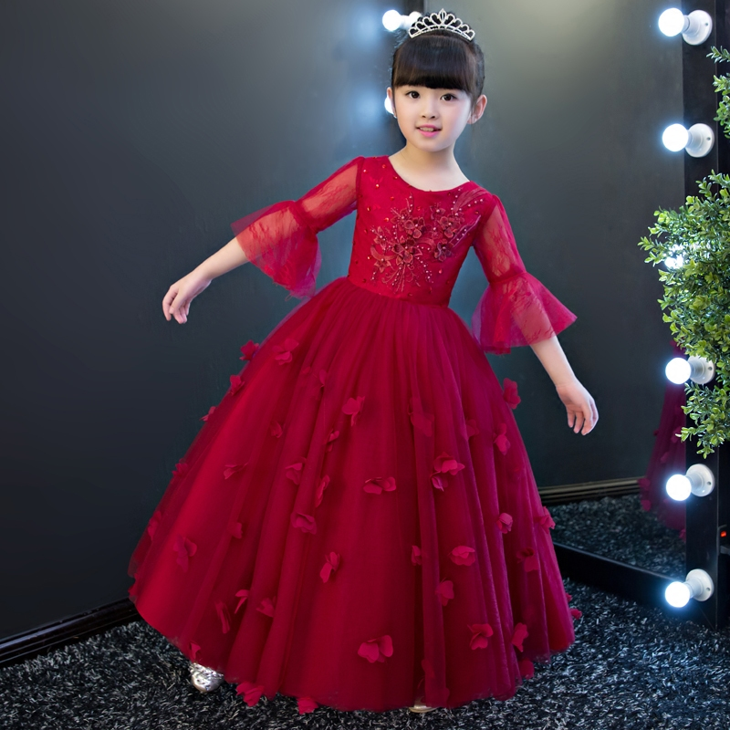 High Quality 2017 Summer Girls Children Half Sleeves Princess Ball Gown Long Dress Kids Wedding Birthday Casual Flowers Dress connected seamed half sleeves flared ponte dress eggplant 6