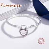 Promotion S925 Sterling Silver Love Couple Heart Padlock fit pan Bracelet & Bangle Original Fine Women DIY Beads Jewelry