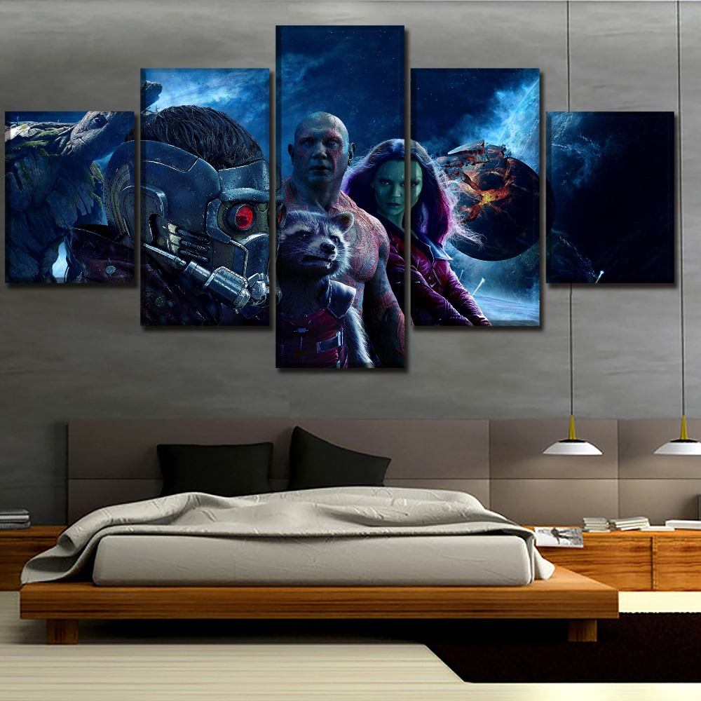 Wall Art Home Decor Guardians of the Galaxy Vol 2 Movies Painting 5 Pieces Canvas HD Printed Modular Picture Modern Artwork