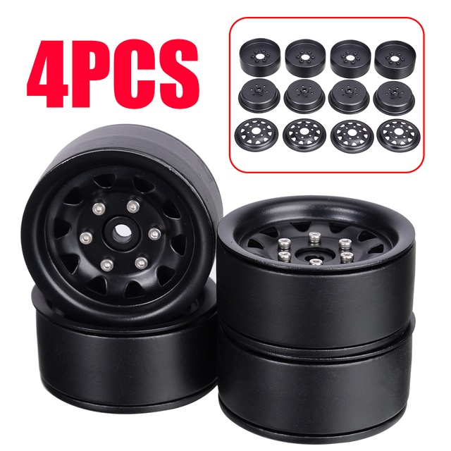 4Pcs/set 1.9inch Alloy Metal Wheel Rims Wheel Hub Rim Set For SCX10 D90 90046 1/10 RC Crawler Car