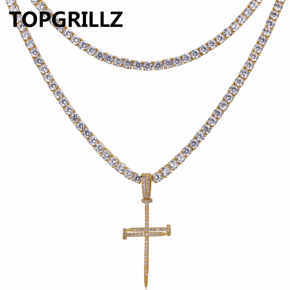 TOPGRILLZ Nail Cross Pendant Necklace All Iced Out Two Tennis Chains Micro Pave AAAA+ CZ Stones Hip Hop Necklace for Men fashion rhinestone hollow out tortile cross shape pendant necklace for men