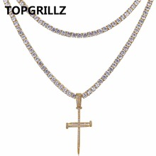 TOPGRILLZ Nail Cross Pendant Necklace All Iced Out Two Tennis Chains Micro Pave AAAA+ CZ Stones Hip Hop Necklace for Men