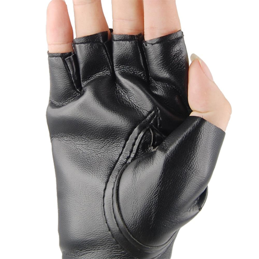 Fingerless leather gloves mens accessories - Unisex Cool Black Punk Rock Studded Leather Look Fingerless Gloves Fancy Dress