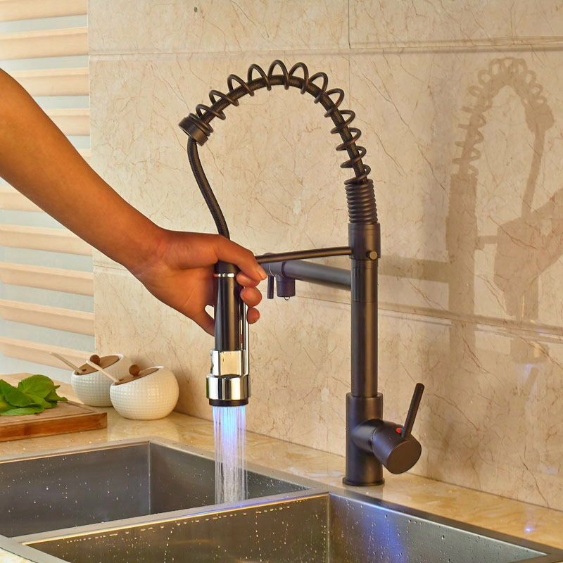 Widespread Led Light Spring Kitchen Faucet Oil Rubbed Bronze Pull