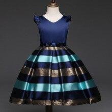 Vestidos Da Menina de verão Listrado Azul Vinho Vestido Elegante Vestido de Festa Vestido de Roupas Meninas Do Bebê Roupas Infantis De Menina Vestidos Ninas Rayado